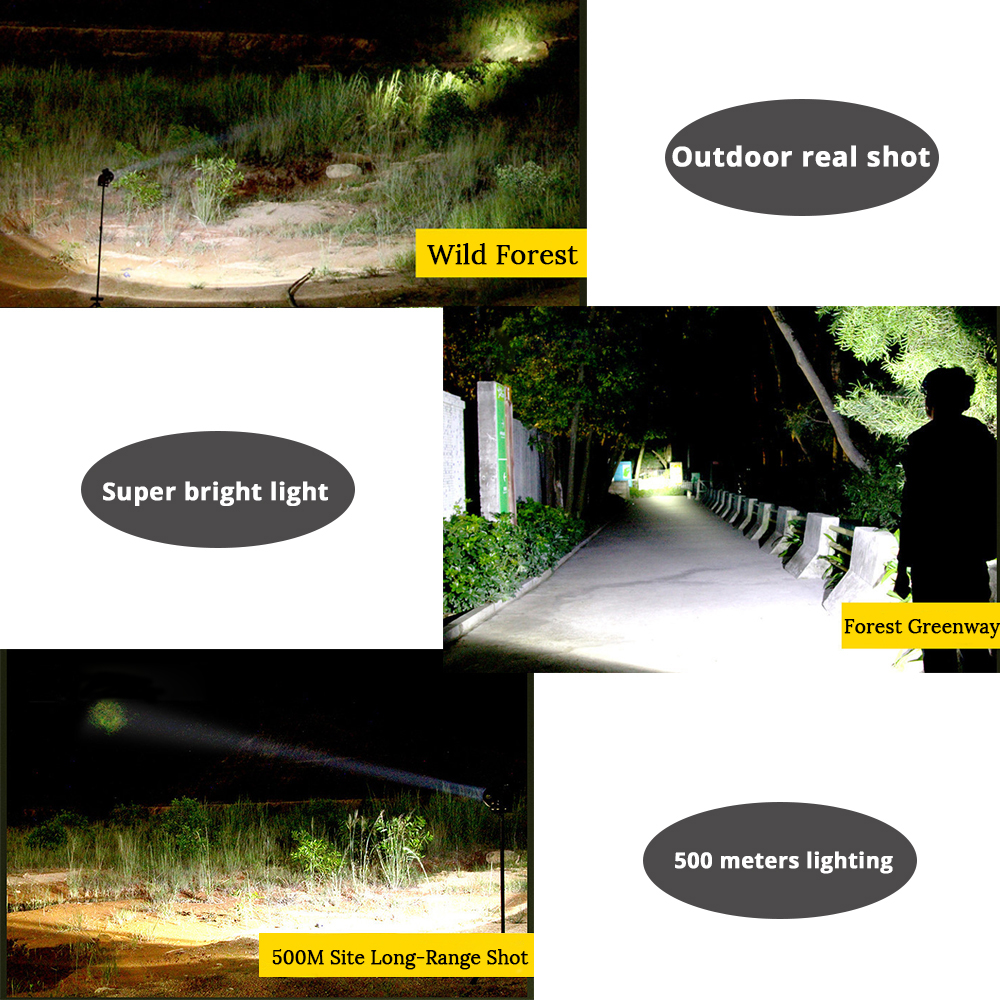 Купить с кэшбэком Rechargeable LED flashlight searchlight 15W High Power portable lamp 2 modes torch Built-in 3000 mA lithium battery