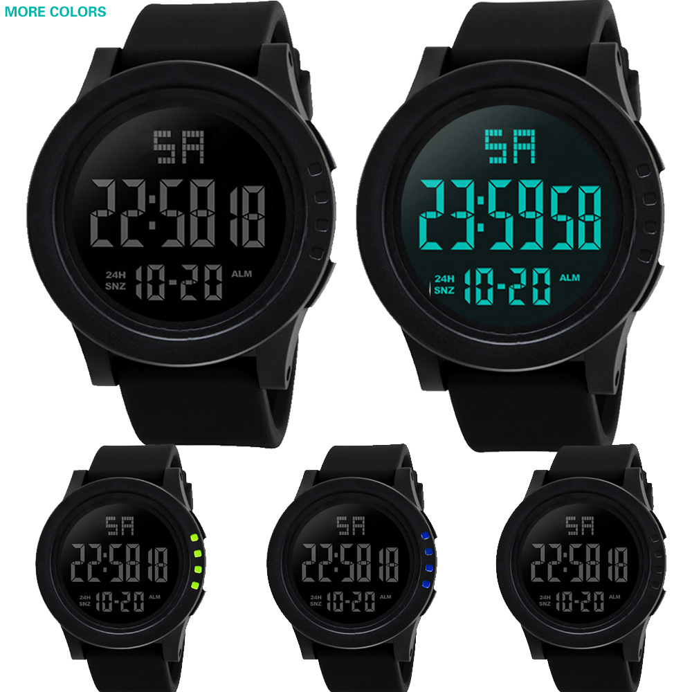 Black Face Large Screen LED Digital Date Display Men Outdoor Sports 30M Waterproof Electronic Watch Wristwatch Mens Clock E86