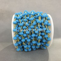 4x6mm Gold Plating Faceted Rondelle Beads Turquoise Blue Glass Crystal Rosary Style Chain RC5031