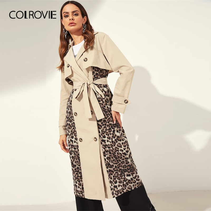 COLROVIE Double Breasted Belted Leopard Casual   Trench   Coat Womens 2019 Spring Notched Colorblock Coat Ladies Fashion Outerwear