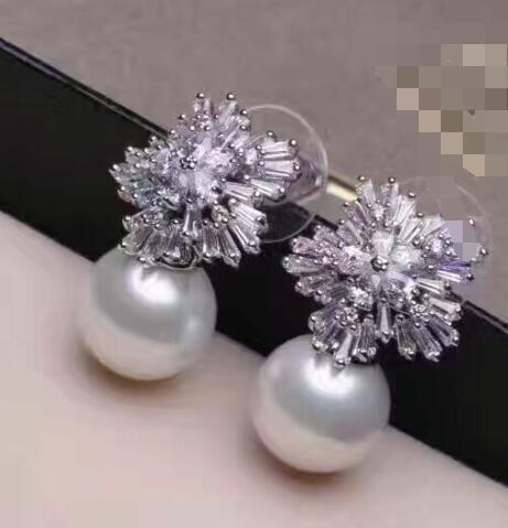 Free shipping AAA 10-11mm natural gray sea water Mabe blister pearl earring - 925 silver