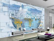 customize luxury wallpaper English alphabet map 3d wall murals wallpaper home decor living room photo wall mural(China)