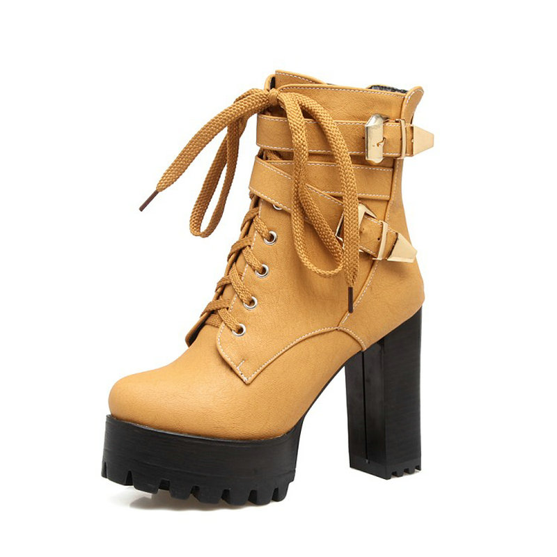 Sianie Tianie lady platform thick block high heels woman shoes lace up buckle strap women ankle boots plus size 33-48  45 46 47