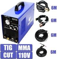 110 V Única Tensão 3 Em 1 Multifunções Máquina de Solda TIG MMA CORTE Plasma 520TSC Soldador Inversor Com Acessório Livre pós