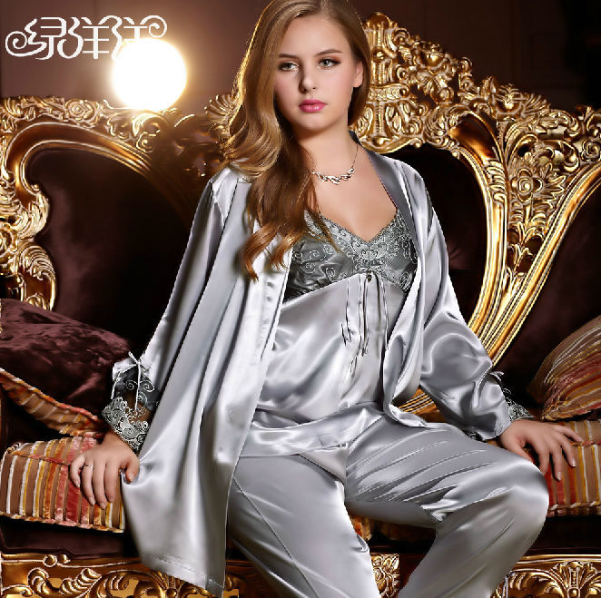 305c433488c1 2013 new style NWT women s ladies faux silk satin robe sets silver pink  sleepwear skirt lounge 3 piece wrap pajamas set 5578-in Robe   Gown Sets  from ...