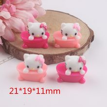 10pcs/lot very cute flat back resin cat about 21mm resin cabochons accessories(China)
