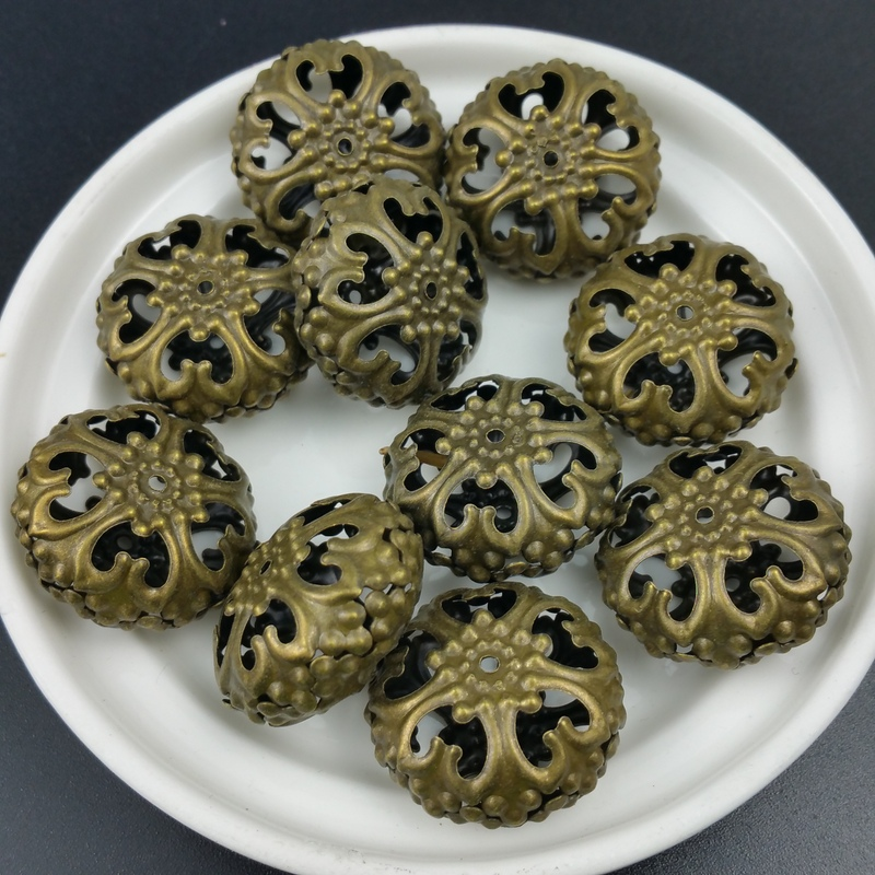 20pcs/lot 24mm bronze DIY handmade Metal Beads Hollow Lace ball for jewelry Lighting Accessories