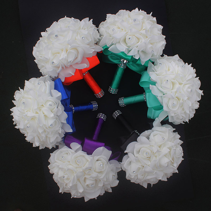 Cheap Prom Baby Blue Flower Brooch Wedding Bouquet De Mariage Wedding Bouquets PE Rose Diamond Ribbon Bouquet W2017D 5