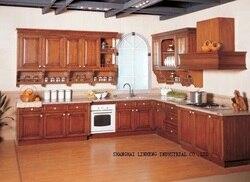 Твердые деревянные кухонные шкафчики наборы (LH-SW019)
