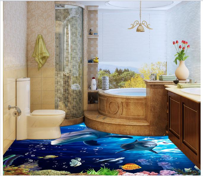 Customized 3d photo wallpaper 3d floor painting wallpaper Marine world 3D floor decorative painting living room decoration customized 3d photo wallpaper 3d floor painting wallpaper 3 d stereo floor tile only beautiful flowers 3d living room decoration