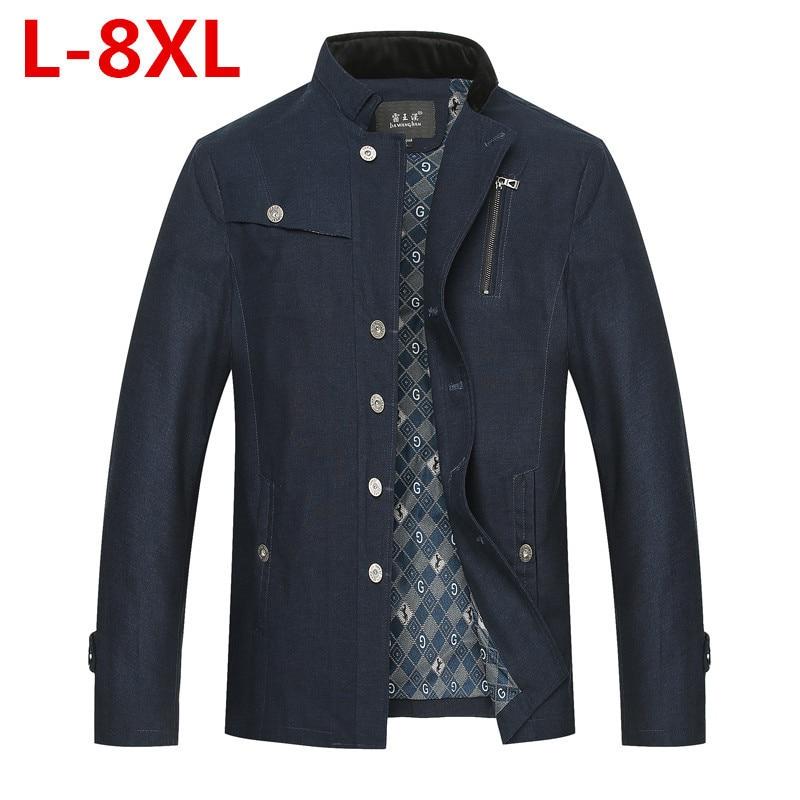 2017 plus size 8XL 7XL 6XL 5XL 4XL 2016 New Arrival Men's Fashion Casual Spring Autumn Jacket Cotton Stand Collar Coat 4 Colors мужские шорты 4color 4xl 5xl 6xl 7xl 8xl bc217
