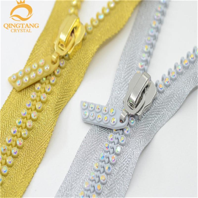 60 cm 2 fila un grado AB Crystal Rhinestone cremalleras plata/oro/Negro base gran para Western camisa 2 piezas