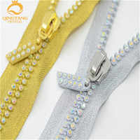 60cm 2-row A grade AB Crystal Rhinestone zippers silver /golden/black base Dress Colthes Sewing 2 pcs