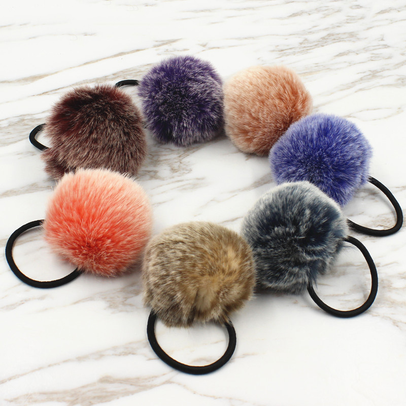 2017 New Artificial Rabbit Fur Ball Elastic Hot Hair Fashion Hair Ties Ponytail Holders Girls Hairband