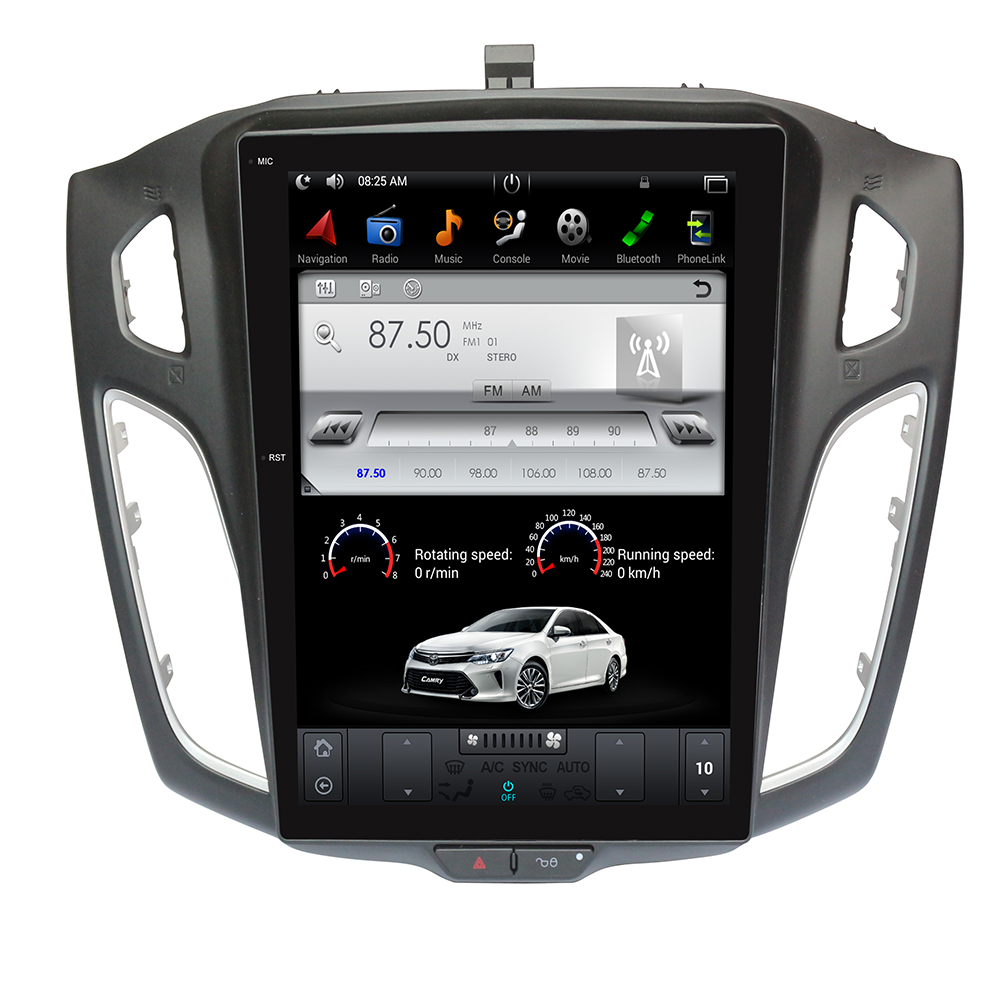 Tesla style Android car gps radio player head unit for <font><b>ford</b></font> <font><b>focus</b></font> 2012 - <font><b>2017</b></font> gps <font><b>navigation</b></font> car radio stereo no dvd big screen image