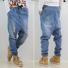 Top Designer Men's Ultralarge Hiphop Loose Harem Pants Plus Size Skateboard Jeans Casual Denim Pants