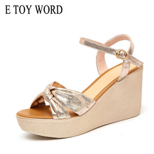 E TOY WORD Wedge Platform Women Sandals Fashion Quality Comfortable Ankle Strap Flat Sandals Gold Female High Heels Size 34-43