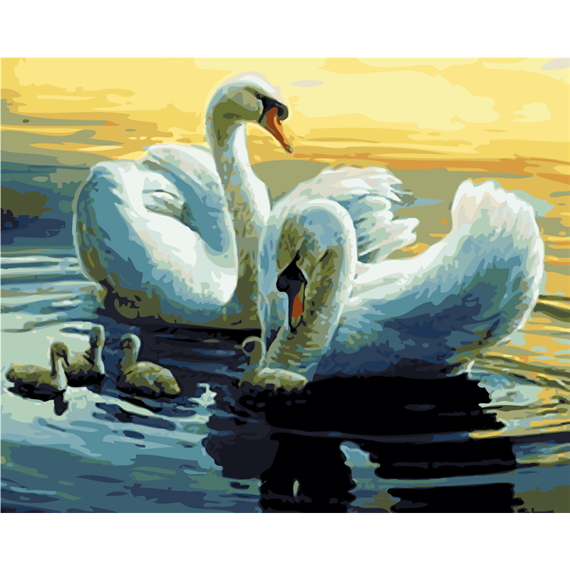 Frameless Swan Animals DIY Painting By Numbers Kits Drawing Acrylic Picture Hand Painted Oil Painting Home Wall Art Decorative in Painting Calligraphy from Home Garden
