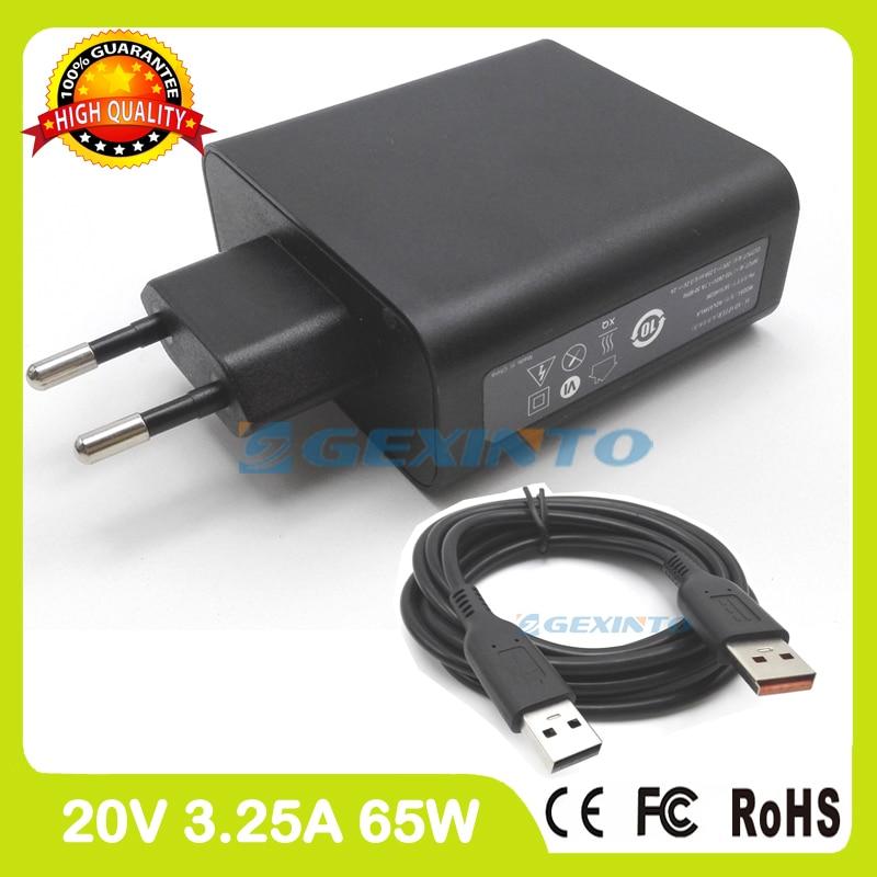 20 V 3.25A 5.2 V 2A USB Adaptateur secteur pour Lenovo Yoga 900-13ISK 900S-12ISK chargeur ADL65WLC ADL65WDJ UE Plug