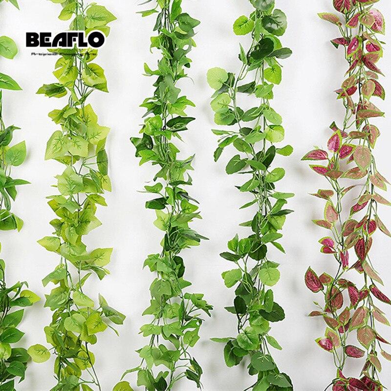 5 Style 1pc 2M Artificial Plant Decoration Vivid Vine Rattan Leaf Vagina Grass Plants Grape Leaves For Home Garden Party Decor