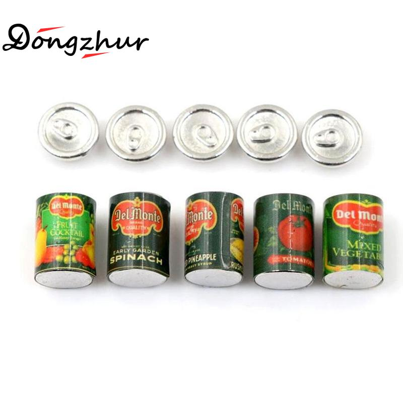 Mini Canned Fruit 5 Cans Miniature Food Play Kitchen Doll Food Accessories Toy Dongzhur 5Pc 1:12 Doll House Accessories