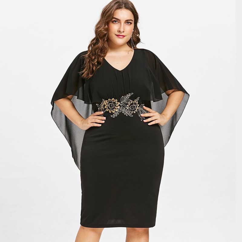 Wipalo Women Fashions Plus Size 5XL Embroidery Capelet Semi Sheer V Neck  Party Dress Half Sleeves b62efd446c42