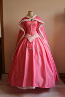 ladies adult new style medieval dress pink sleeping beauty dress with cloak Aurora cosplay princess costume fairy dress/festival