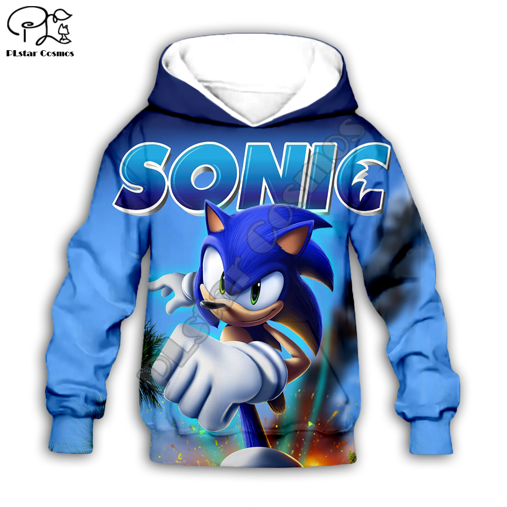 Family Shirts Anime Super Sonic 3d Hoodies Children Zipper Coat Long Sleeve Pullover Cartoon Sweatshirt Tracksuit Hooded/pants