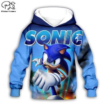 Рубашки для всей семьи, 3d Толстовка с капюшоном в стиле аниме «Super Sonic», детское пальто на молнии, пуловер с длинными рукавами, толстовка с гер...