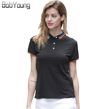 ec311706d91d5 BabYoung 2017 Summer Women Polo Shirt Cotton Collar Stripe Short sleeve Top  Slim Tee Shirt Breathable