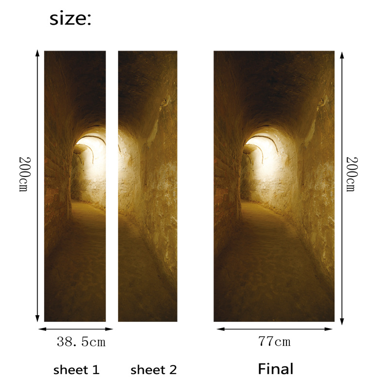Image 2 - Mystery Tunnels Door Sticker Creative Home Decoration Waterproof PVC Vinyl Wood Grain Self Adhesive Kitchen Wardrobe Wallpaper-in Door Stickers from Home & Garden