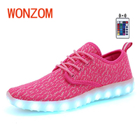 WONZOM New Superstar Colorful Shoes Fashion Casual Adult 7 Color USB Charge Flashing Led Shoes High
