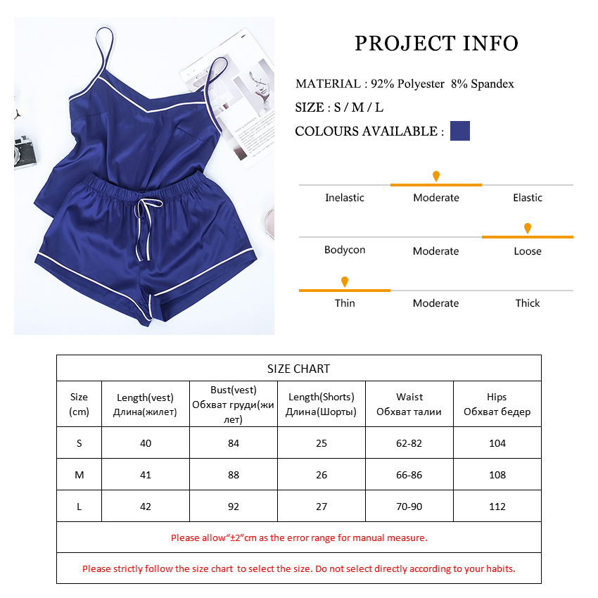 Image 5 - VICTORIA'S KEY Contrast Stripe Side Navy Cami Top Satin Shorts Suits Female Summer Home Clothes Women Pajama Set Sexy Sleepwear-in Pajama Sets from Underwear & Sleepwears