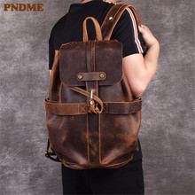 PNDME retro simple genuine leather men's backpack designer crazy horse leather large capacity  travel anti theft bagpack boobags backpack europe men s cow leather large capacity backpack retro crazy horse leather travel bag leisure backpack