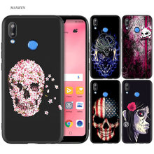 Black Silicone Case Bag Cover for Huawei P30 P20 P10 P9 P8 Mate 10 20 Lite 2017 Mini Pro P Smart Plus 2019 Flower Skull Lady Man(China)
