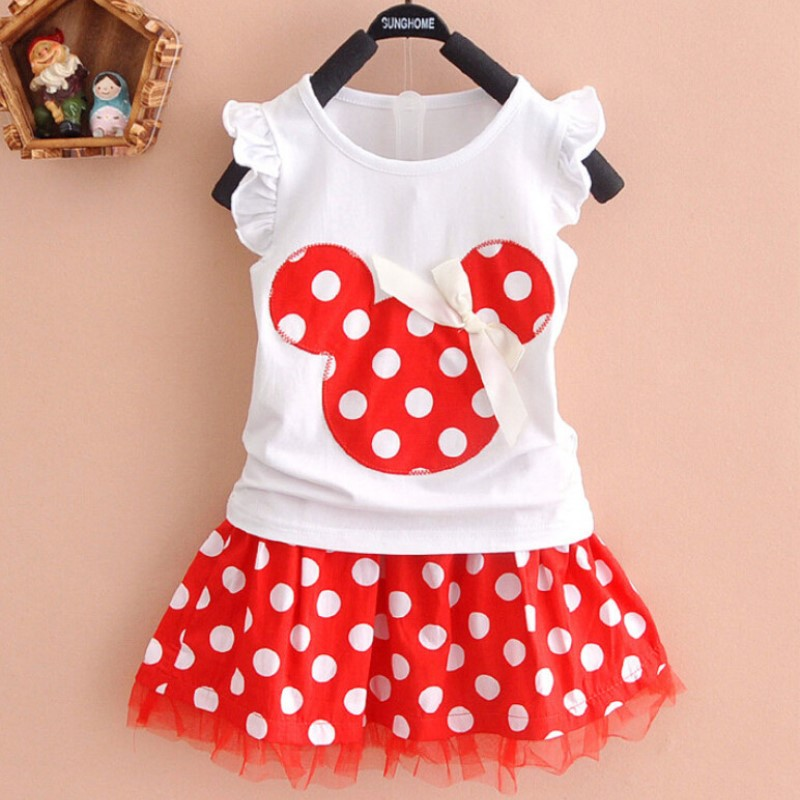 Baby Girls Summer Clothing Sets 2019 New Casual Children Kids Suit T shirt+Polka Dot Skirt