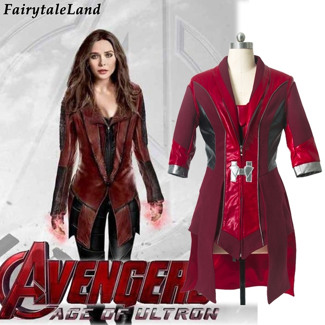 Scarlet Witch cosplay Avengers Age of Ultron Wanda Maximoff Scarlet Witch Costume for adult women Scarlet witch leather jacket