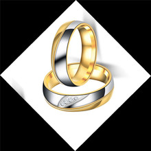 HIP Hop 1Pc 6mm Stainless steel rhinestone couple ring For Women Men Jewelry Dropshiping Couple gift