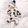 2016 Bebé Que Arropan el sistema Muchachas de la Manga Larga Conjuntos Tops + pants 2 Unids bebé Ropa Del Bebé Fijó