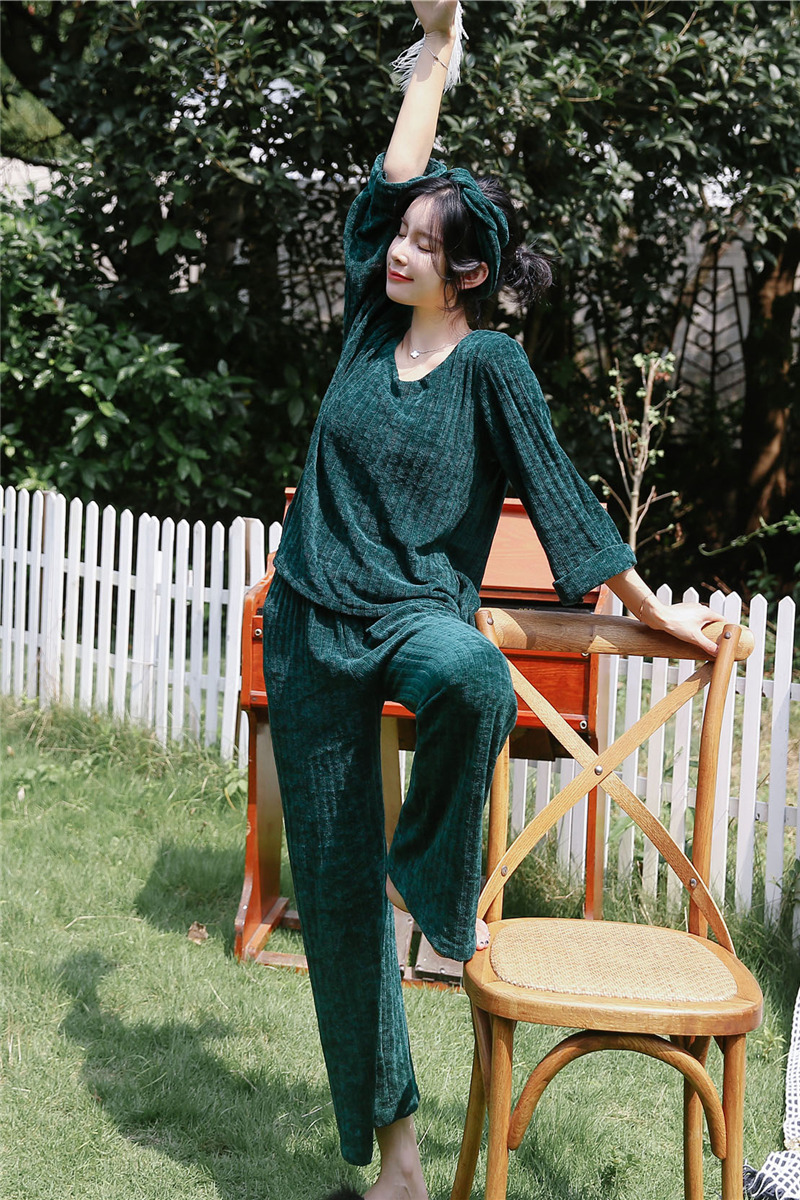 JULY'S SONG Woman Winter Flannel Pajamas Sets 2 Pieces Warm Pajamas Thick Sleepwear Woman Casual Homewear 46