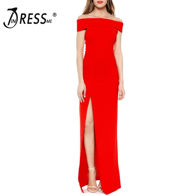 INDRESSME ชุดผู้หญิงปิดชุดไหล่ Slash คอข้อเท้า ความยาวแยก Bodycon Elegant Long Party Dresses Vestidos 2018-ใน ชุดเดรส จาก เสื้อผ้าสตรี บน   1