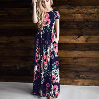 SHIBEVER Print Women Summer Long Dress Vintage Party Dress Boho Floor Length Plus Size Spring Casual
