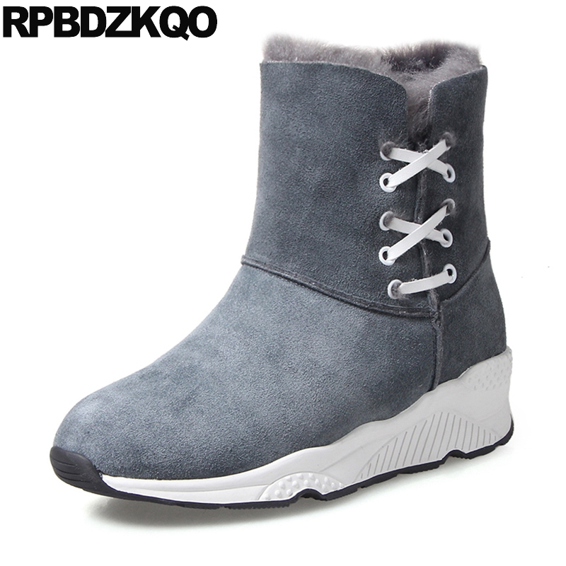 Ankle Casual Shoes Flat Furry Booties Round Toe Winter Snow Boots Women New Suede Gray Lace Up Chinese Short 2017 Ladies Fashion suede british chelsea platform booties shoes fall ankle thick round toe chunky brown front lace up casual boots autumn fashion
