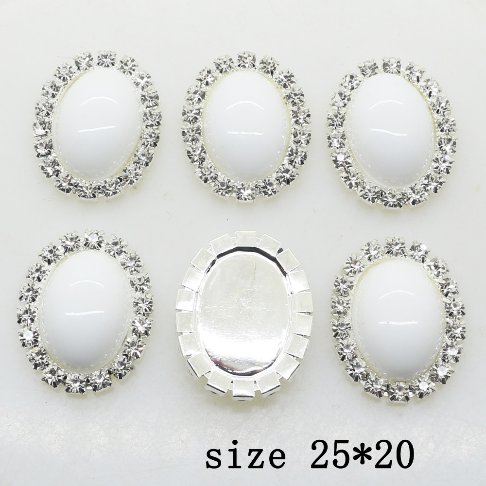 New Hot 10 Sets Of 25 * 20mm Oval Diy Jewelry Accessories Rhinestone Flat Wedding Invitations DIY Pitch Jewelry