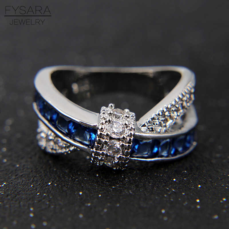 FYSARA Cross Finger Ring For Women Paved Zircon Crystals Luxury Princess Lady Engagement Wedding Ring Blue Silver Couple Jewelry
