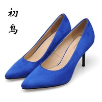New 2017 Size 34 41 Blue Sexy Pointed Toe High Heels Women Pumps Ladies Shoes Woman