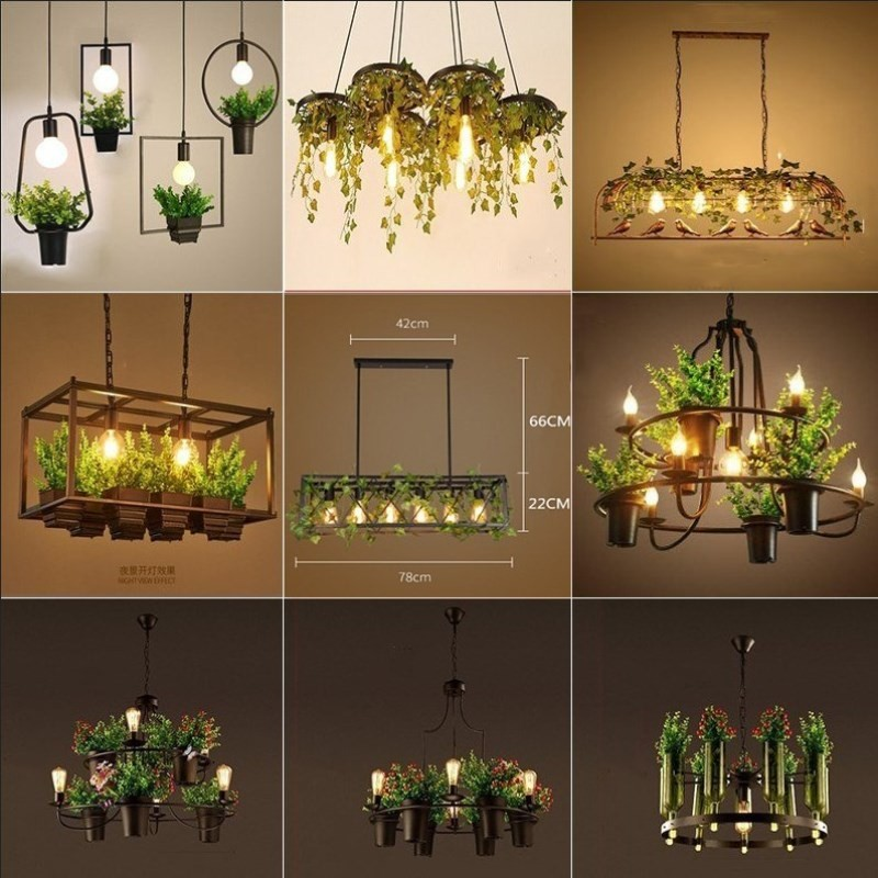 Countryside Style Plant Pendant Light Industrial Antique Wrought Iron Lighting Decorative Kitchen Restaurant Hotel Ceiling Lamp