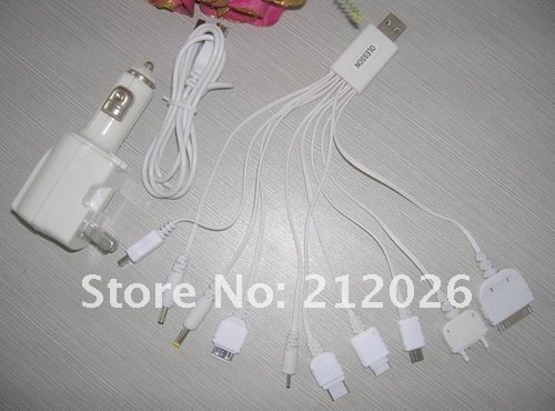 25pcs/lot boxed freeshipping car home power partner charger+USB 2.0 data power cables 10 in 1 for mp3 mp4 cell mobile phone