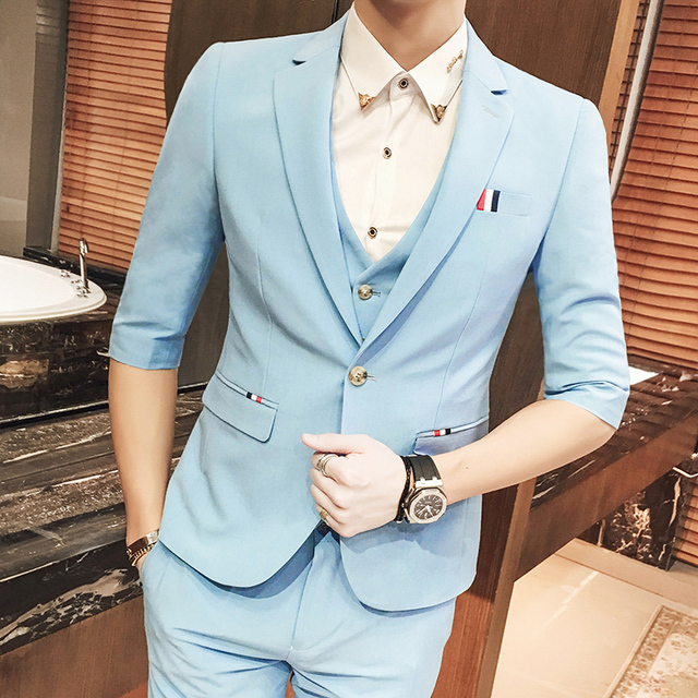 (Jackets+Pants+vest) New 2017 Summer Casual purple Single Breasted suit men,casual half sleeves blazer,Men's wedding Black Dress