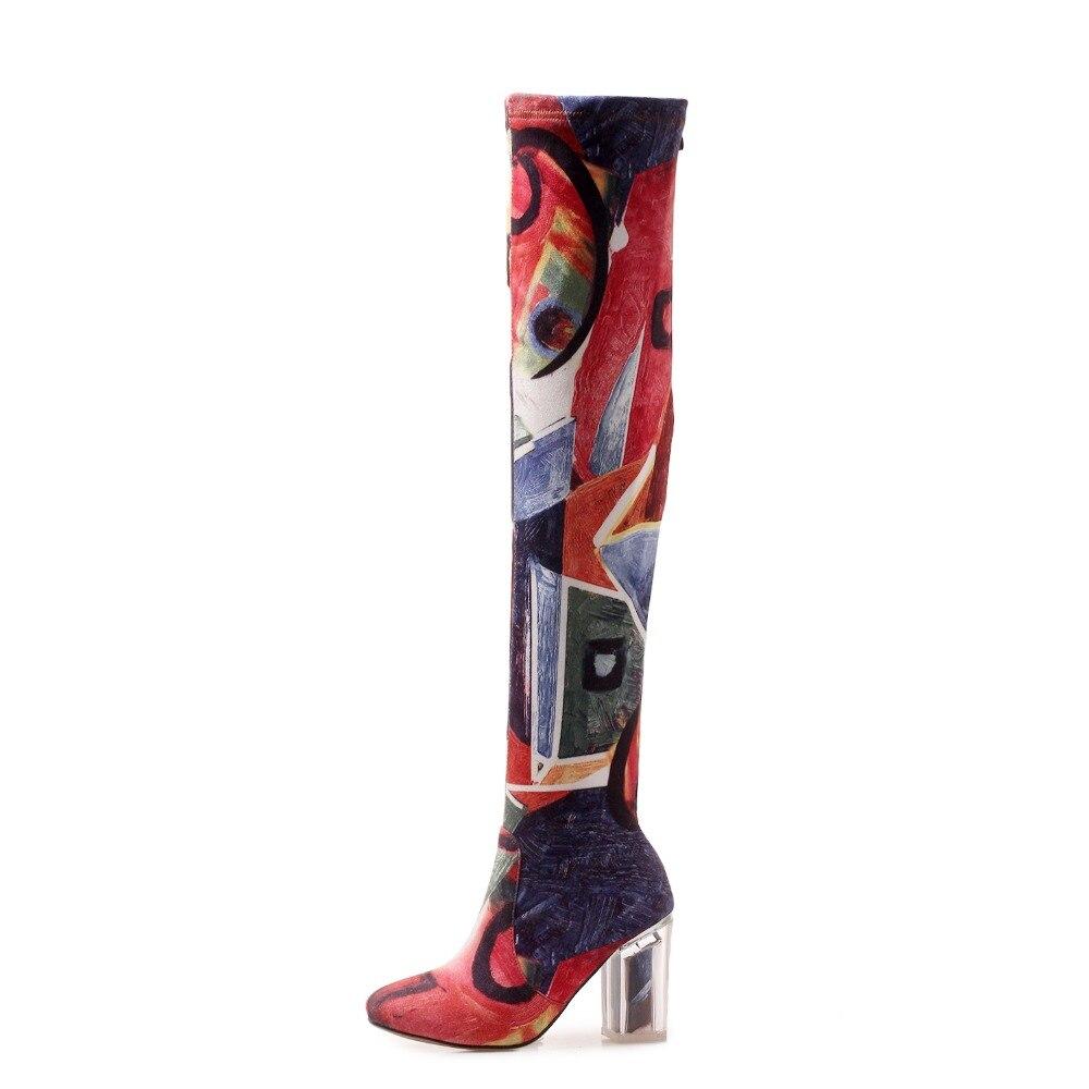 Mujer rojo 43 Oficina Damas Botas Zapatos Negro Hasta Mujeres Femenino Tamaño La 34 Negro Romance Cuadrados Sb241 Rodilla 2018 S Tacones Más qT0Affx